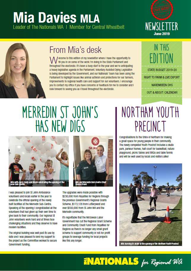 Click here to download Mia's June 2019 newsletter